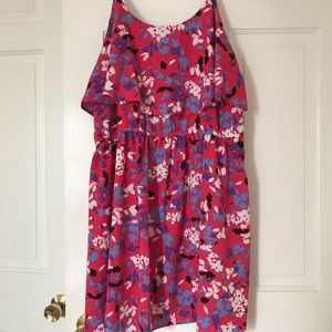 Woman pink floral pattern sundress.